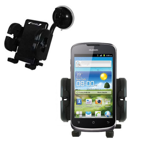 Gomadic Brand Flexible Car Auto Windshield Holder Mount designed for the Huawei U8815 - Gooseneck Suction Cup Style Cradle