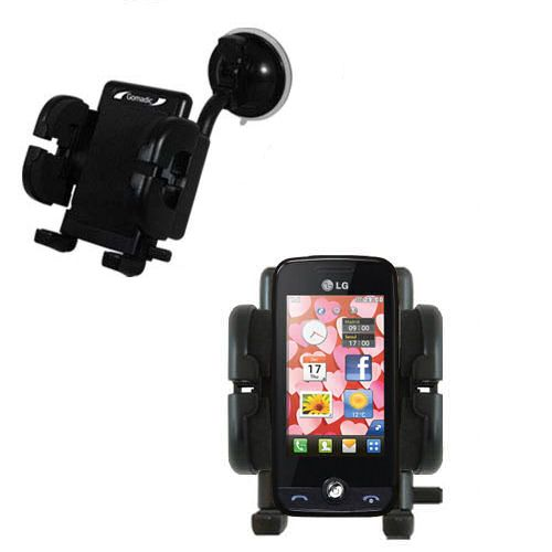 Gomadic Brand Flexible Car Auto Windshield Holder Mount designed for the LG Cookie Fresh (GS290) - Gooseneck Suction Cup Style Cradle