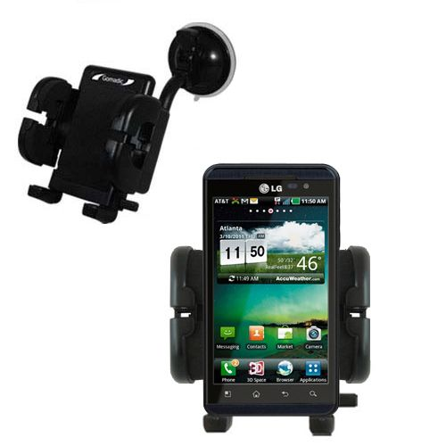 Gomadic Brand Flexible Car Auto Windshield Holder Mount designed for the LG Thrill 4G - Gooseneck Suction Cup Style Cradle
