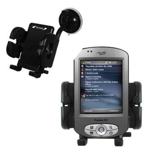 Gomadic Brand Flexible Car Auto Windshield Holder Mount designed for the Mio P550 - Gooseneck Suction Cup Style Cradle