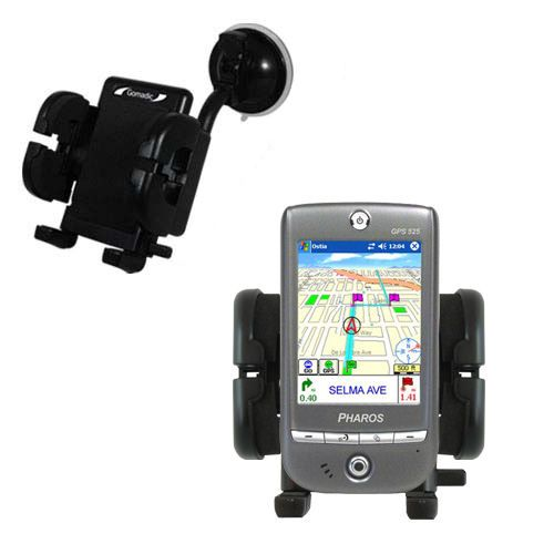 Gomadic Brand Flexible Car Auto Windshield Holder Mount designed for the Pharos GPS 525E - Gooseneck Suction Cup Style Cradle
