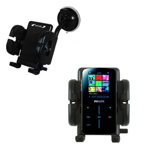 Gomadic Brand Flexible Car Auto Windshield Holder Mount designed for the Philips GoGear SA9325/00 - Gooseneck Suction Cup Style Cradle