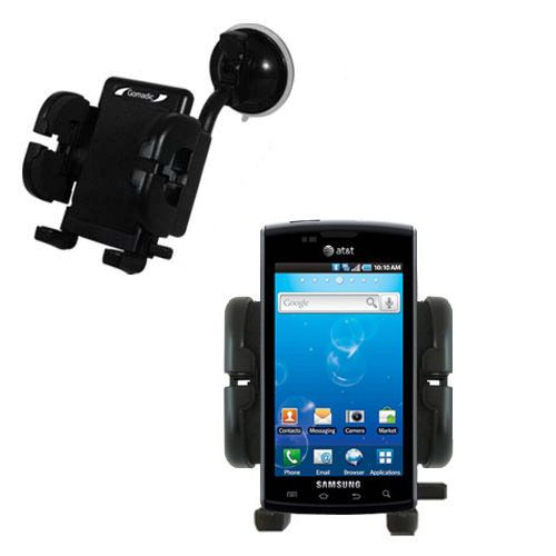 Gomadic Brand Flexible Car Auto Windshield Holder Mount designed for the Samsung Captivate - Gooseneck Suction Cup Style Cradle
