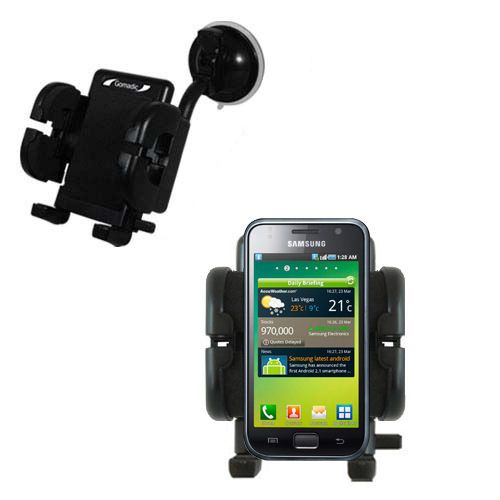 Gomadic Brand Flexible Car Auto Windshield Holder Mount designed for the Samsung Galaxy S - Gooseneck Suction Cup Style Cradle