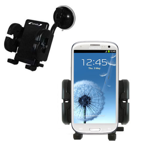 Gomadic Brand Flexible Car Auto Windshield Holder Mount designed for the Samsung Galaxy S III - Gooseneck Suction Cup Style Cradle