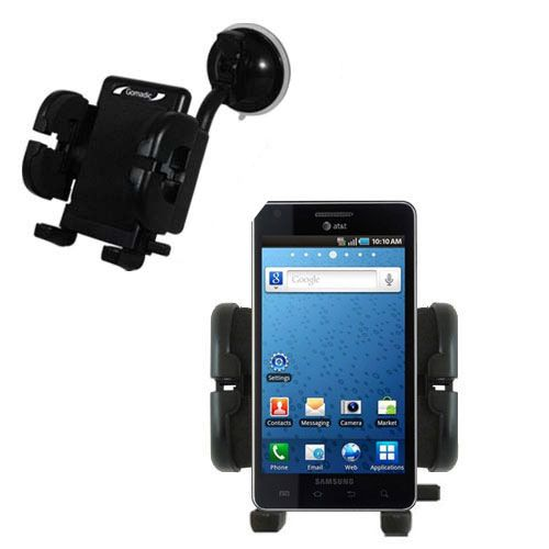 Gomadic Brand Flexible Car Auto Windshield Holder Mount designed for the Samsung Infuse 4G - Gooseneck Suction Cup Style Cradle
