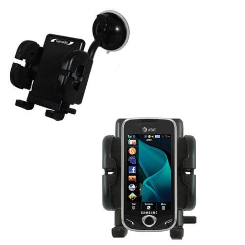 Gomadic Brand Flexible Car Auto Windshield Holder Mount designed for the Samsung Mythic - Gooseneck Suction Cup Style Cradle