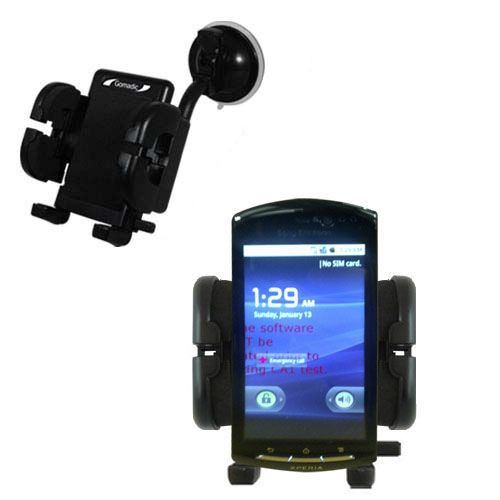 Gomadic Brand Flexible Car Auto Windshield Holder Mount designed for the Sony Ericsson LT15i - Gooseneck Suction Cup Style Cradle