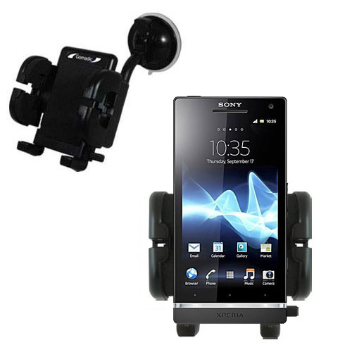 Gomadic Brand Flexible Car Auto Windshield Holder Mount designed for the Sony Ericsson Xperia S - Gooseneck Suction Cup Style Cradle