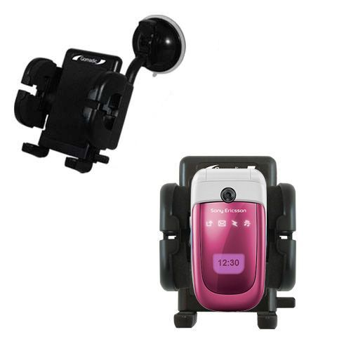 Gomadic Brand Flexible Car Auto Windshield Holder Mount designed for the Sony Ericsson z310i - Gooseneck Suction Cup Style Cradle